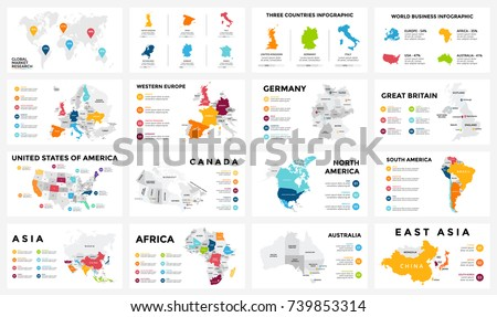 Vector map infographic. Slide presentation. Global business marketing. World travel geography. Economic infographics statistic template. World, America, Africa, Europe, Asia, Australia, USA, Canada