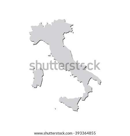 Vector map Italy. Isolated vector Illustration. Gray on White background. With shadow. EPS 10 Illustration.