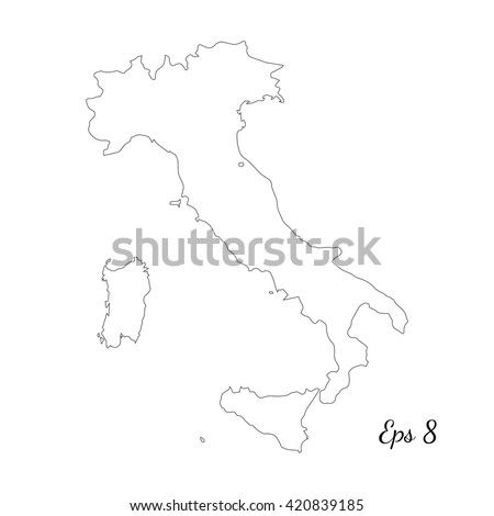 Vector map Italy. Outline map. Isolated vector Illustration. Black on White background. EPS 8 Illustration.