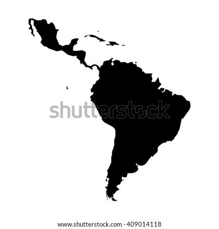 Vector map Latin America. Isolated vector Illustration. Black on White background. EPS 8 Illustration. Foto stock ©