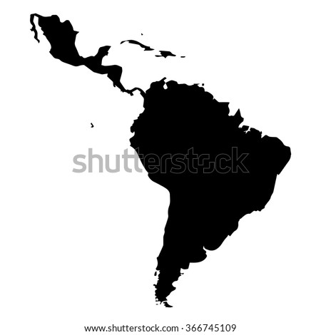 Vector map Latin America. Isolated vector Illustration. Black on White background. EPS Illustration. Stok fotoğraf ©
