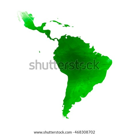 Vector map Latin America. Isolated vector Illustration. Watercolor green effect. EPS 10 Illustration.