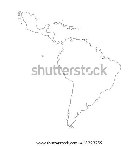 Vector map Latin America. Outline map. Isolated vector Illustration. Black on White background. EPS 8 Illustration.