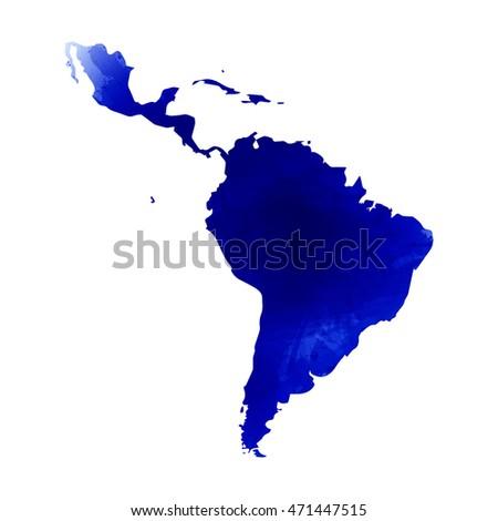 Vector map Latin America. Watercolor blue effect. Illustration 10 EPS.