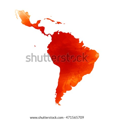 Vector map Latin America. Watercolor orange effect. Illustration 10 EPS.