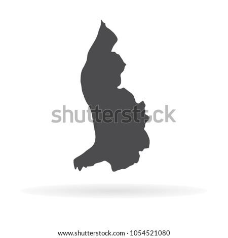 Vector map Liechtenstein. Isolated vector Illustration. Black on White background. EPS 10 Illustration.