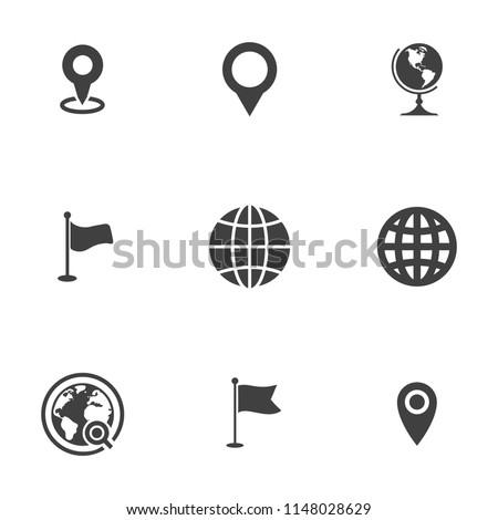 vector map, location, pin, travel navigation Icons - road gps