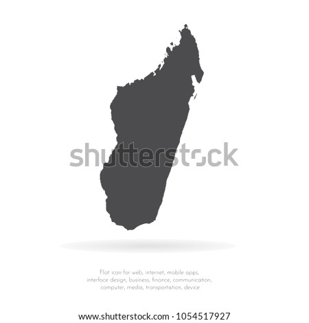 Vector map Madagascar. Isolated vector Illustration. Black on White background. EPS 10 Illustration.