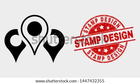 Vector map markers icon and Stamp Design watermark. Red round distress watermark with Stamp Design text. Vector composition for map markers in flat style. Black isolated map markers icon.