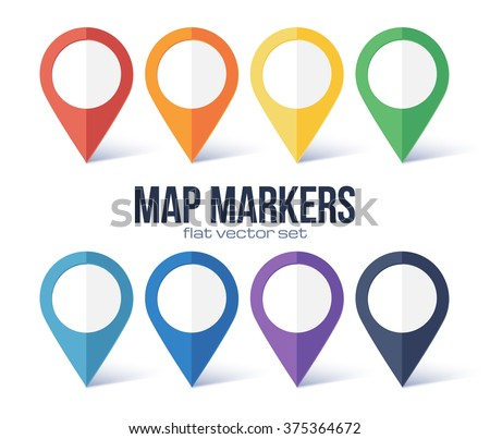 Vector map markers rainbow colors set