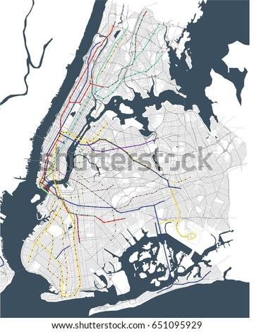 vector map metro of the New York City NY , USA