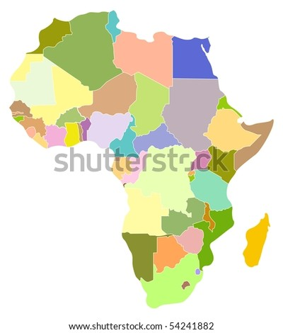 Vector map of Africa, each country is the individual isolated object.