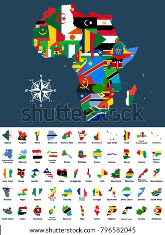 vector map of Africa mixed with countries flags. Collection of all African maps combined with flags isolated on white background