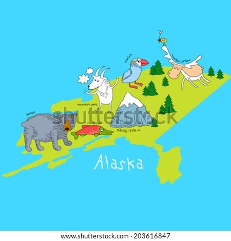 vector map of alaska with
