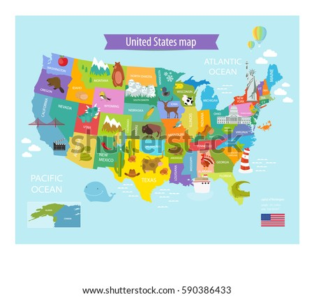 vector map of america with the...