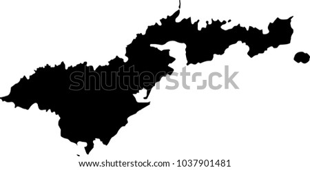 Vector map of American Samoa. Black mask. Isolated, white background.
