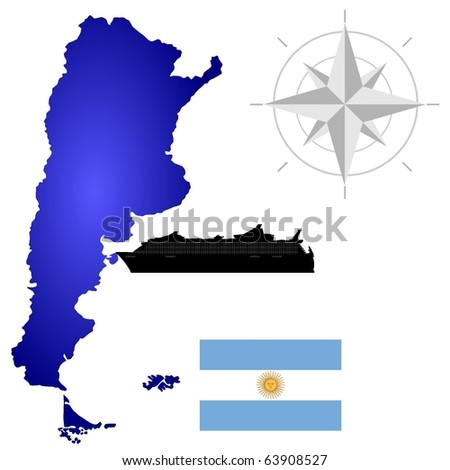 vector map of  Argentina with a silhouette of the ship and the flag