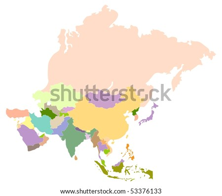 Vector map of asia, each country is the individual isolated object.