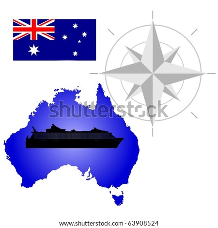 vector map of Australia with a silhouette of the ship and the flag