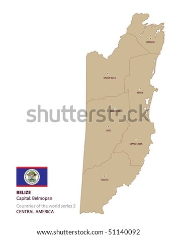 Vector map of Belize