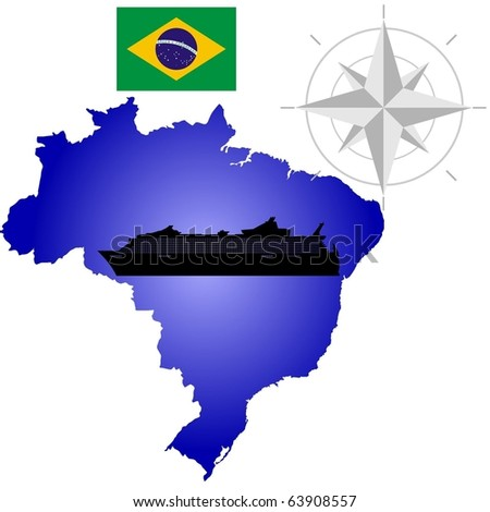 vector map of Brazil with a silhouette of the ship and the flag - stock vector