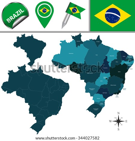 Vector map of Brazil with named divisions and travel icons