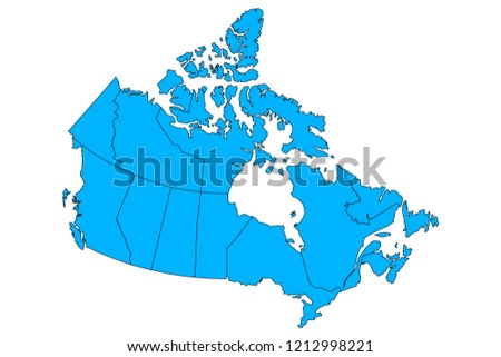 Vector map of Canad with provinces and territories borders. Foto stock ©