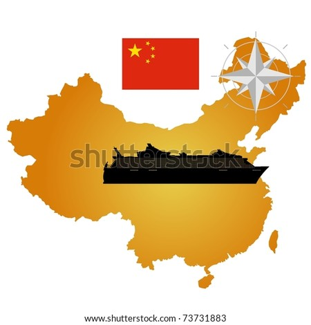Vector map of China  with a silhouette of the ship and the flag - stock vector