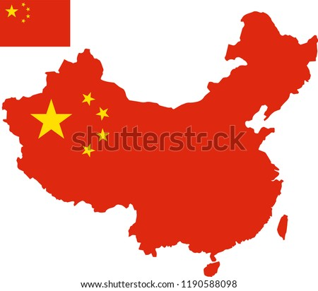 Vector map of China with flag. Isolated, white background