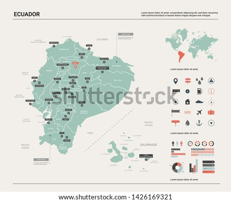 Vector map of Ecuador. Country map with division, cities and capital Quito. Political map,  world map, infographic elements.