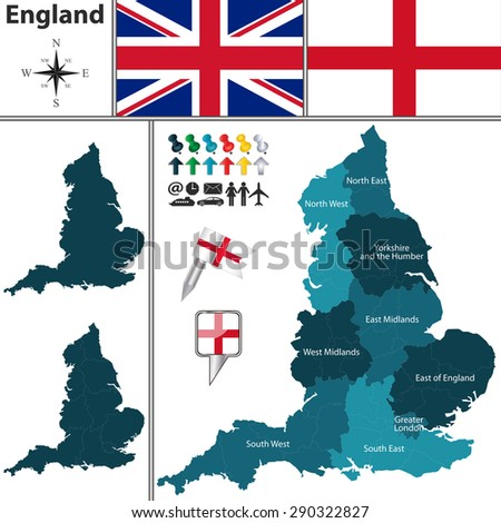 vector map of england with