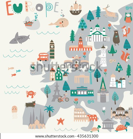 vector map of europe with