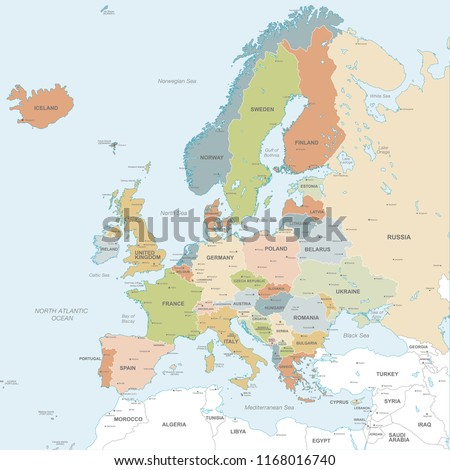 Vector map of European Continent with Countries, Capitals, Main Cities and Seas and islands names in classic soft colors.