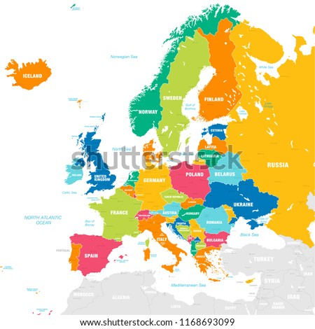 Vector map of European Continent with Countries, Capitals, Main Cities and Seas and islands names in strong brilliant colors.