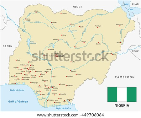 vector map of Federal Republic of Nigeria with flag