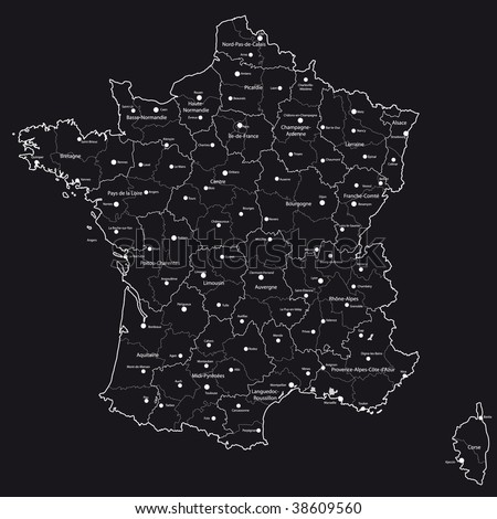 stock vector : Vector map of France with regions and towns