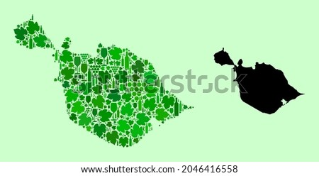 Vector Map of Heard and McDonald Islands. Collage of green grape leaves, wine bottles. Map of Heard and McDonald Islands mosaic composed from bottles, grapes, green leaves.