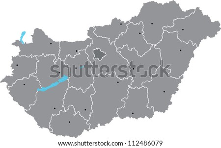 Vector map of Hungary with counties on separate named layers