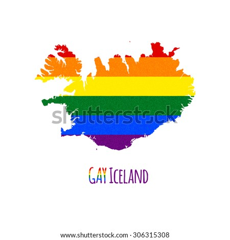 vector map of iceland in lgbt