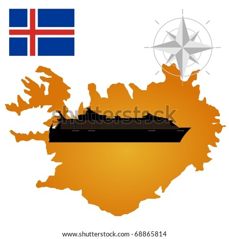 Vector map of  Iceland  with a silhouette of the ship and the flag