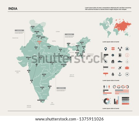 Vector map of India.  High detailed country map with division, cities and capital New Delhi. Political map,  world map, infographic elements.