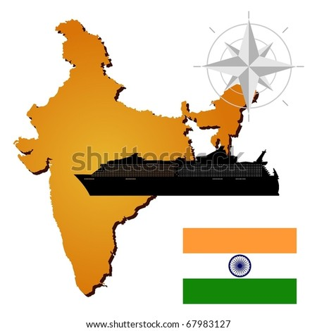 Vector map of  India  with a silhouette of the ship and the flag