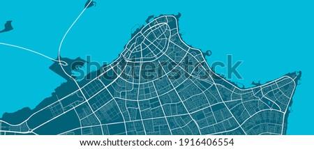 Vector map of Kuwait, El Kuwait, State of El Kuwait. Street map poster illustration. Kuwait map art.