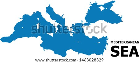 Vector Map of Mediterranean Sea with name. Map of Mediterranean Sea is isolated on a white background. Simple flat geographic map.