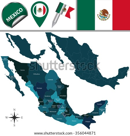 Shutterstock Vector map of Mexico with named divisions and travel icons