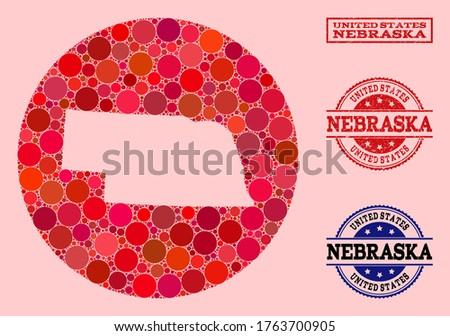 Vector map of Nebraska State collage of circle spots and red grunge stamp. Subtraction round map of Nebraska State collage formed with circles in variable sizes, and red color tints. Photo stock ©
