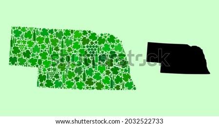 Vector Map of Nebraska State. Composition of green grape leaves, wine bottles. Map of Nebraska State collage designed with bottles, grapes, green leaves. Photo stock ©