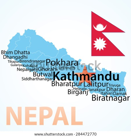 vector map of nepal with