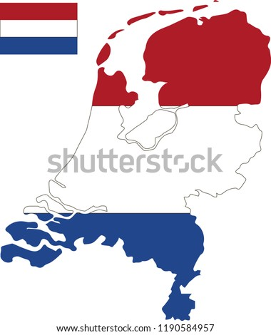 Vector map of Netherlands with flag. Isolated, white background