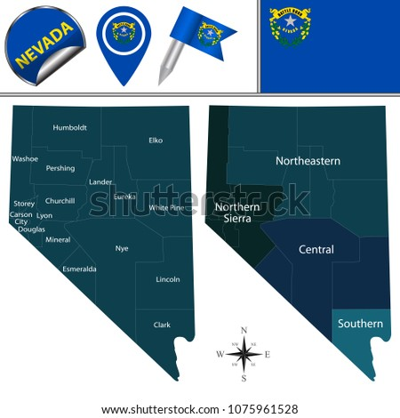 vector map of nevada with named